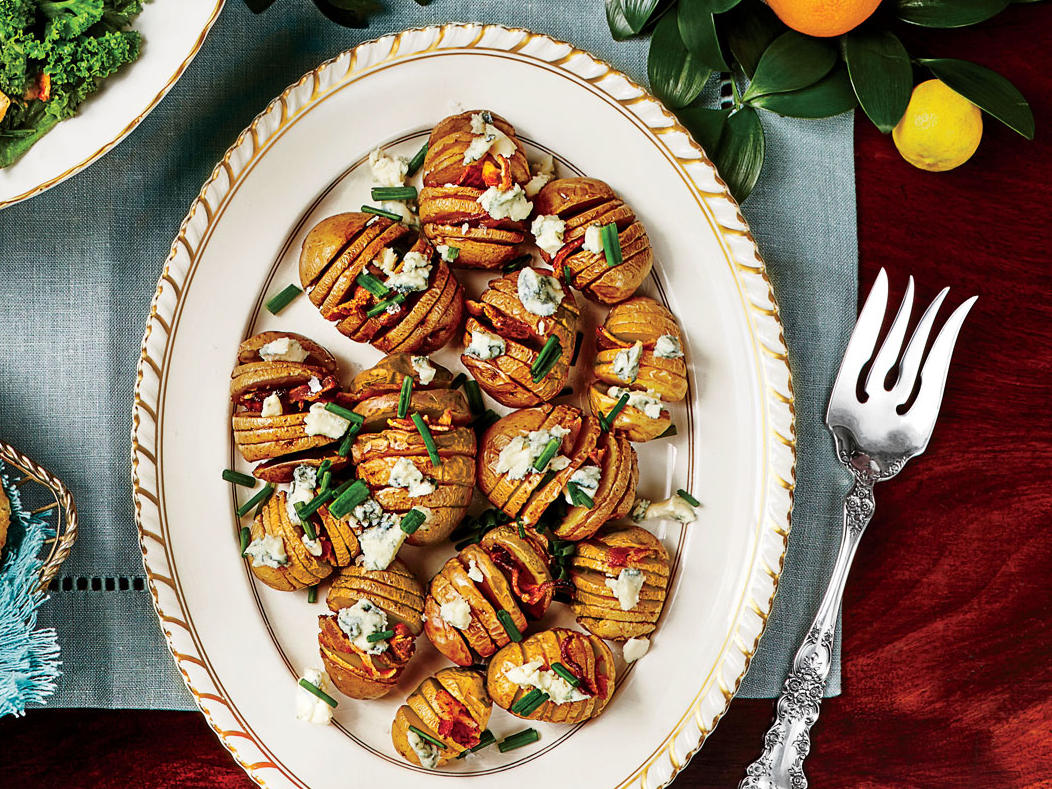 Baby Hasselback Potatoes with Blue Cheese and Bacon image