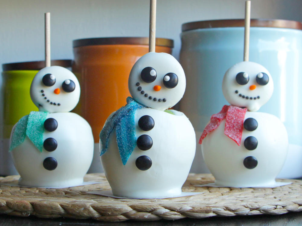 White Chocolate Snowmen Apples