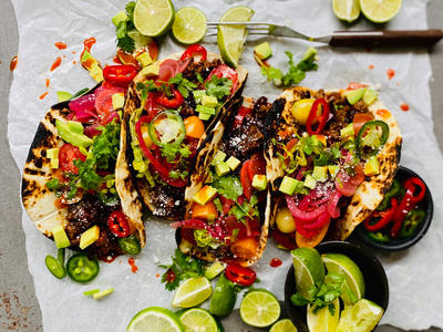 Beef and Black Bean Tacos With Pickled Onion and Radish image