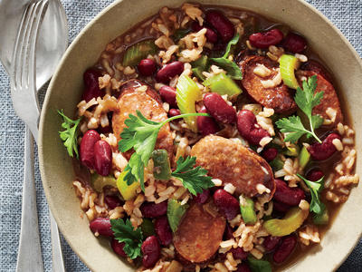 Cajun Red Beans and Brown Rice with Andouille