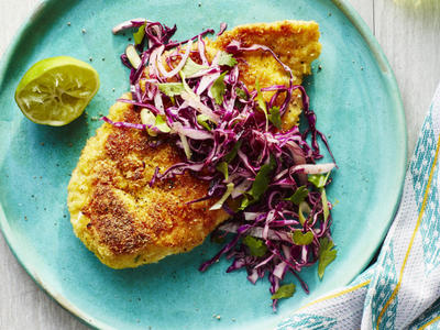 Chicken Milanesa with Jicama Slaw image