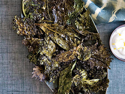 Crispy Kale with Lemon-Yogurt Dip
