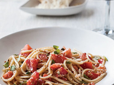 Spaghettini with Tomatoes, Anchovies and Almonds