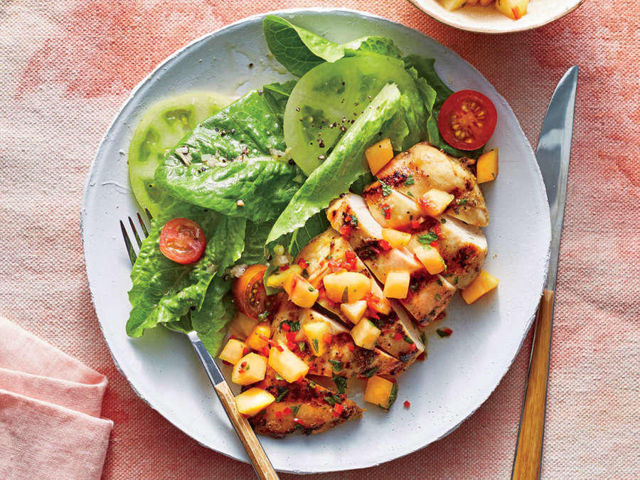 Pan-Grilled Chicken with Peach Salsa
