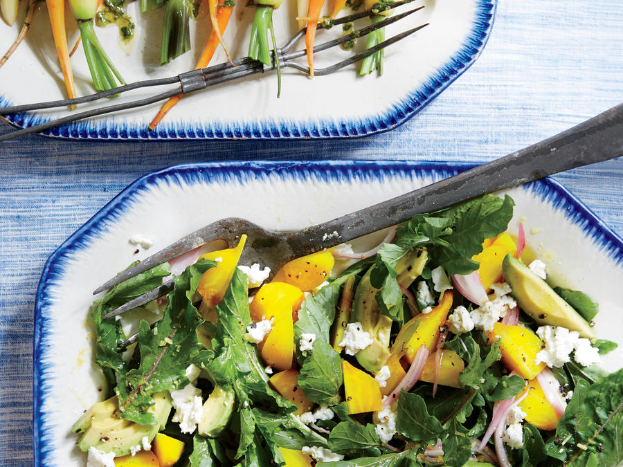 Golden Beet Salad with Avocado and Feta
