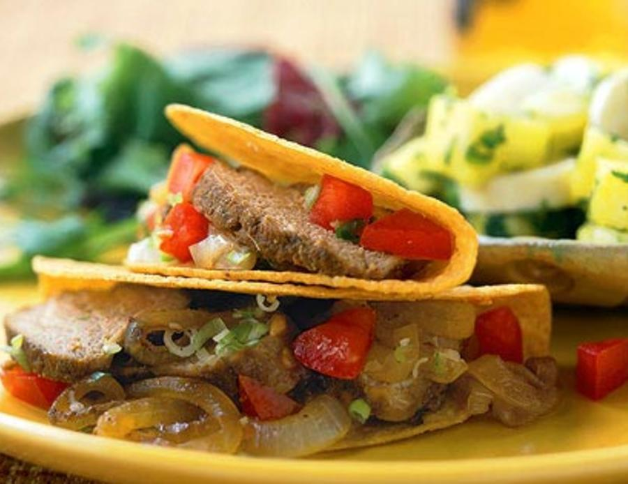 Red Chile Pork Tacos with Caramelized Onions