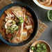 Brown Rice Noodle Bowls with Tofu, Pork, and Kimchi Recipe