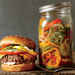 Cheesesteak Burgers with Pickled Peppers, Onions, and Cucumber Recipe