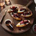 Poached Cherry and Goat Cheese Crostini