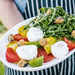 Heirloom Tomato Salad with Arugula, Burrata, and Eggplant Croutons