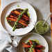 Whole Roasted Carrots with Black Lentils and Green Harissa Recipe