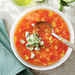 Peach-and-Tomato Gazpacho with Cucumber Yogurt Recipe