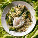Sautéed Escarole with Toasted Pearl Couscous and Poached Eggs Recipe