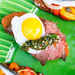 Picnic Crostini with Roast Beef, Chimichurri, and Quail Egg Recipe