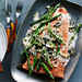 Grilled King Salmon with Asparagus, Morels, and Leeks Recipe