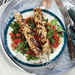 Lemony Chicken Kebabs with Tomato-Parsley Salad Recipe