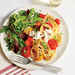 Spaghetti with Wilted Tomatoes and Burrata