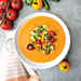 Tomato-Red Pepper Gazpacho with Fresh Vegetable Medley