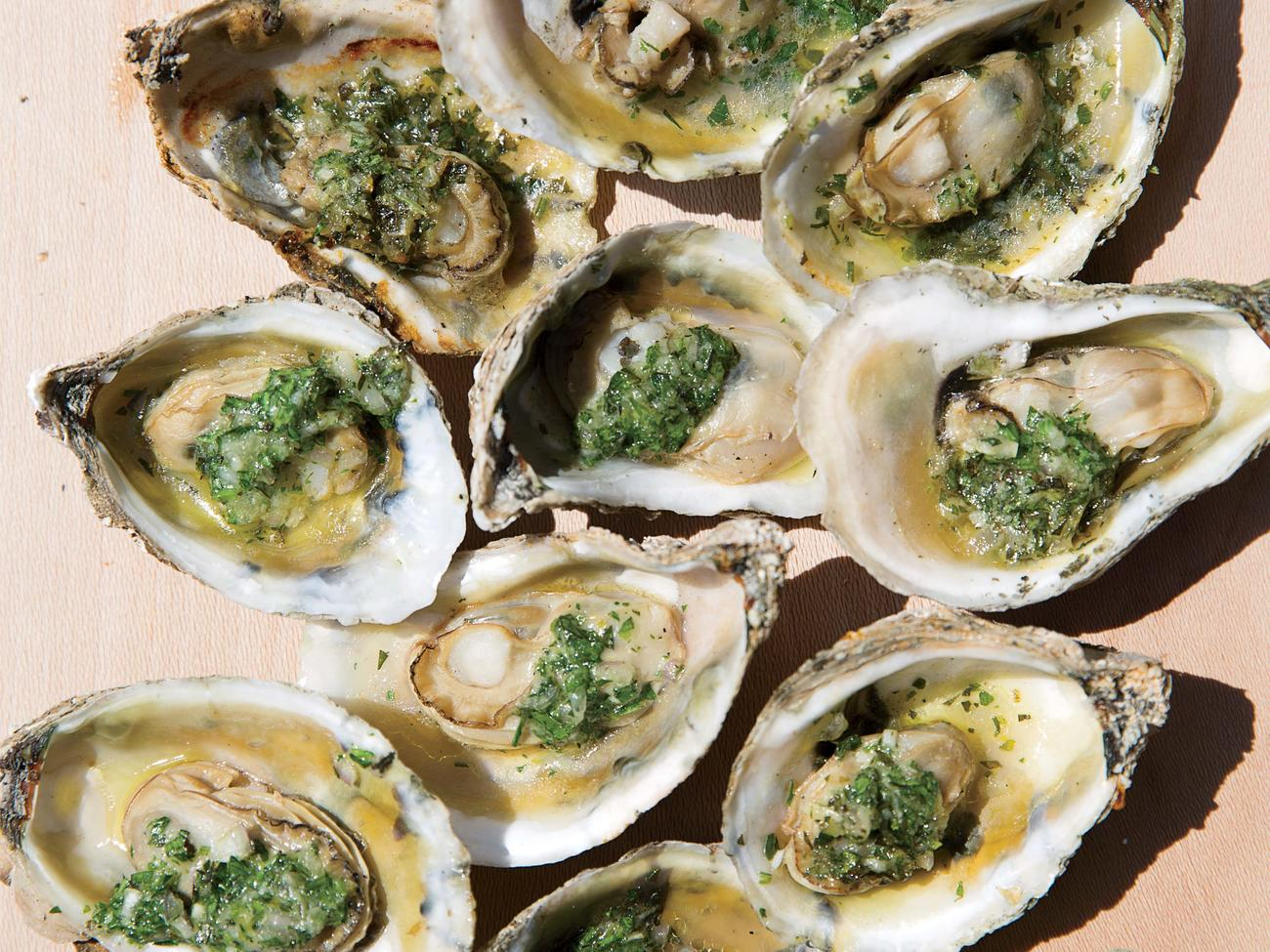 Grilled Oysters with Tarragon-Parsley Butter