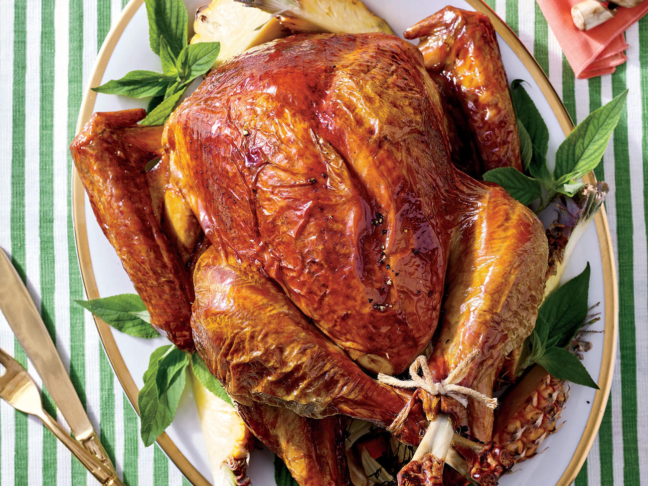 Tiki Turkey with Buttered Rum-Pineapple Glaze
