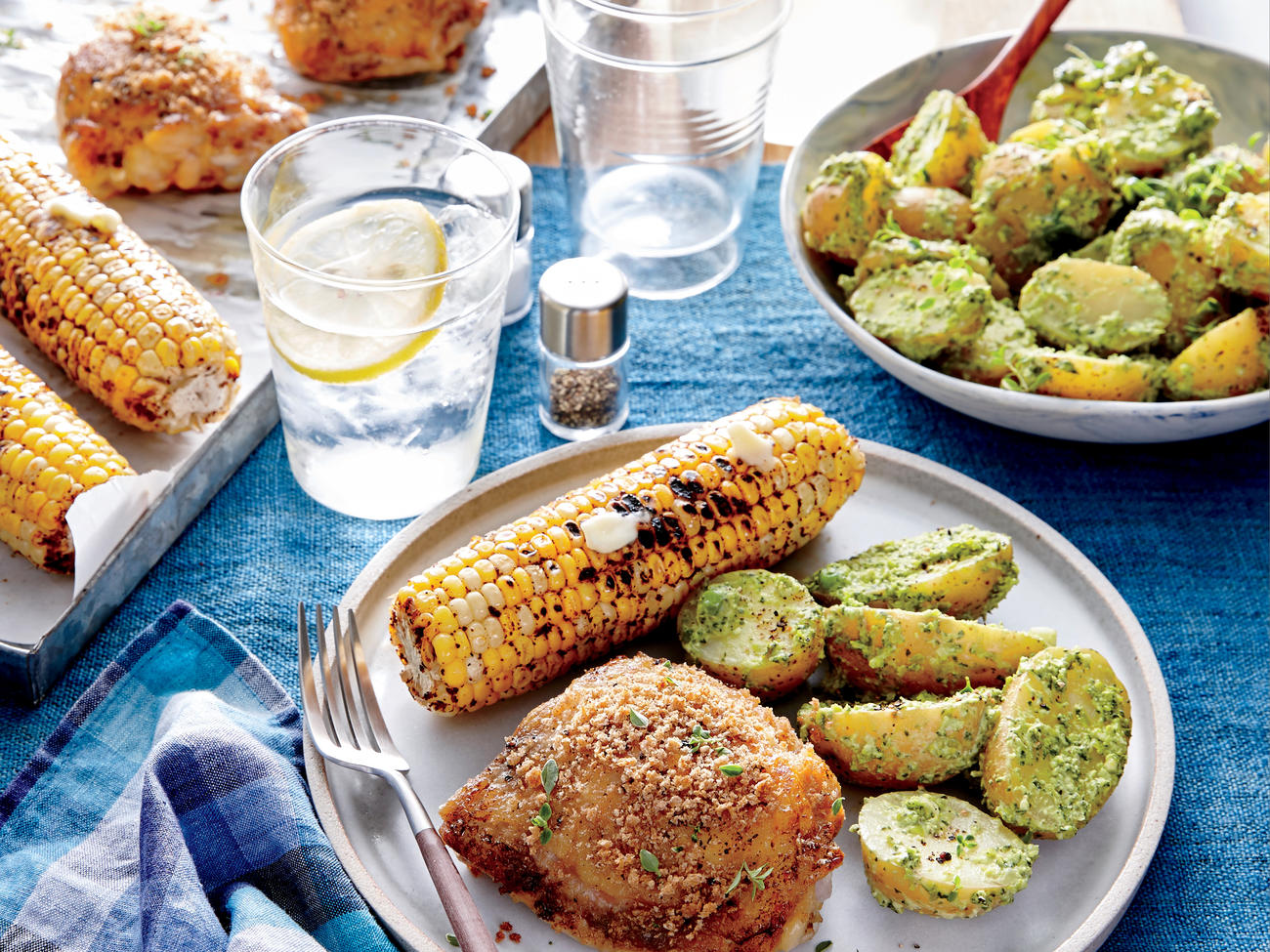 Crispy Chicken Thighs with Spinach-and-Pea Potato Salad