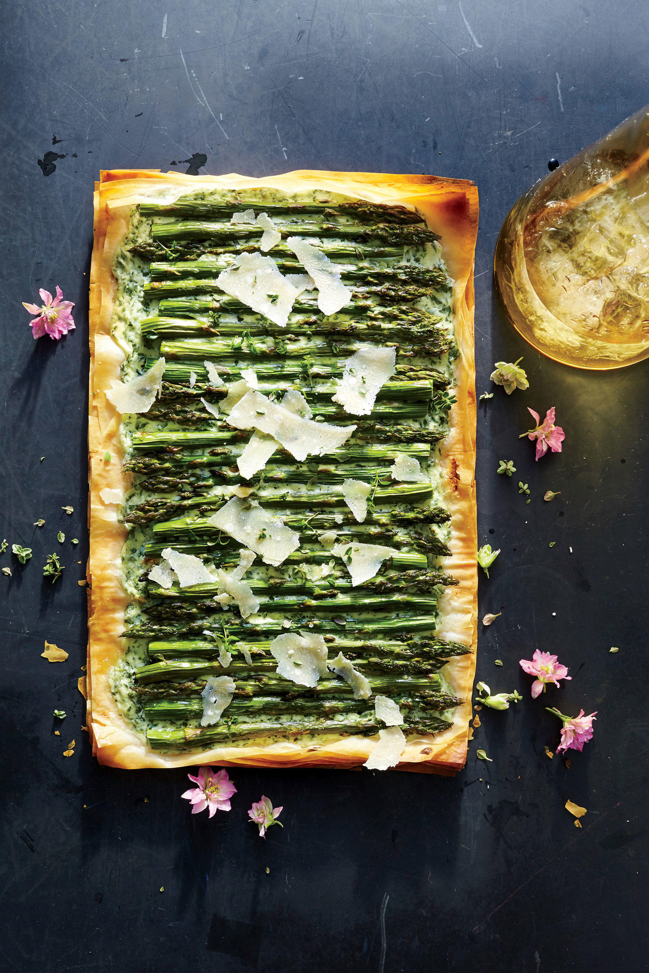 Herbed Ricotta, Asparagus, and Phyllo Tart