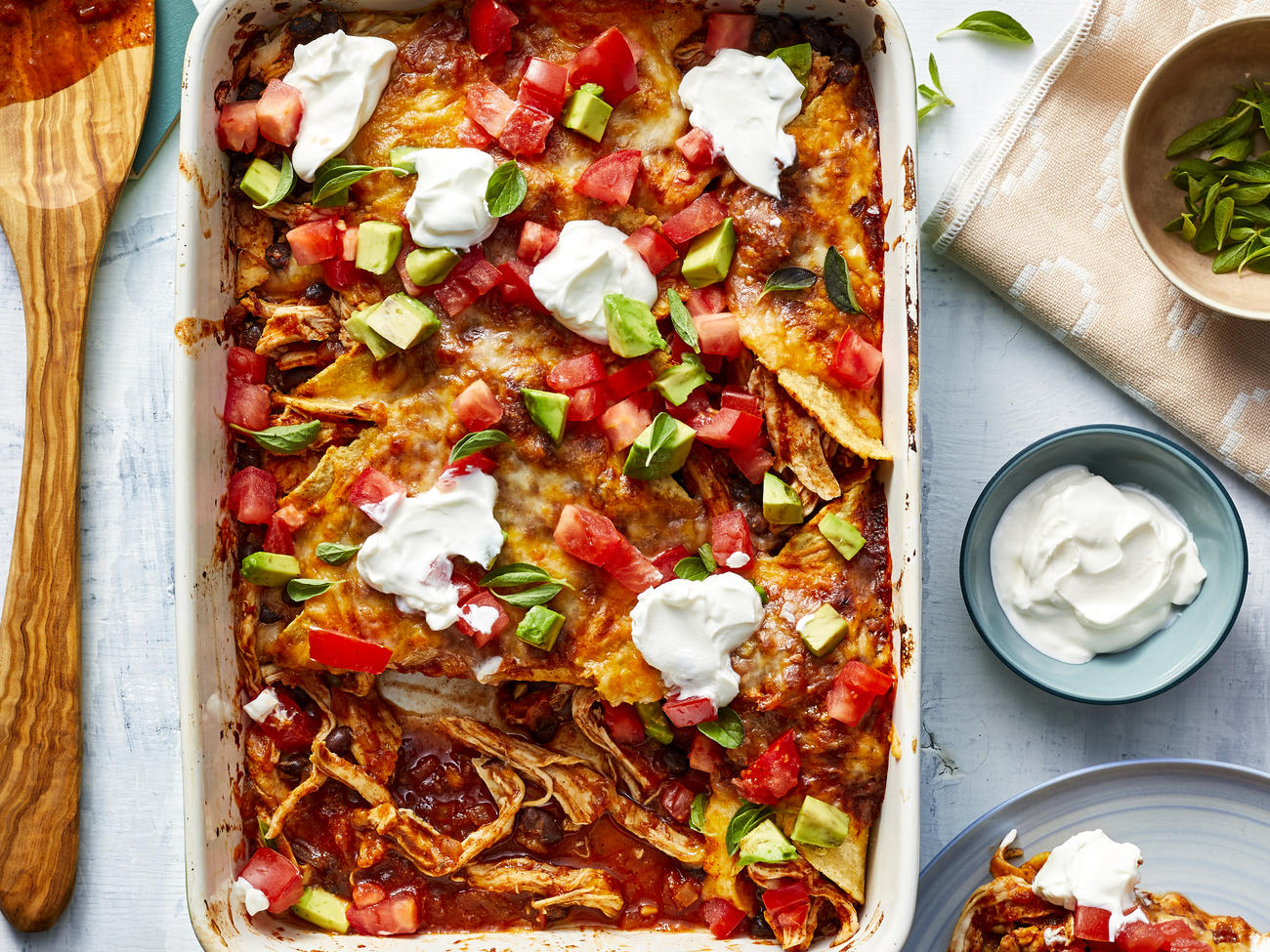 Poached Chicken Enchiladas with Red Sauce image