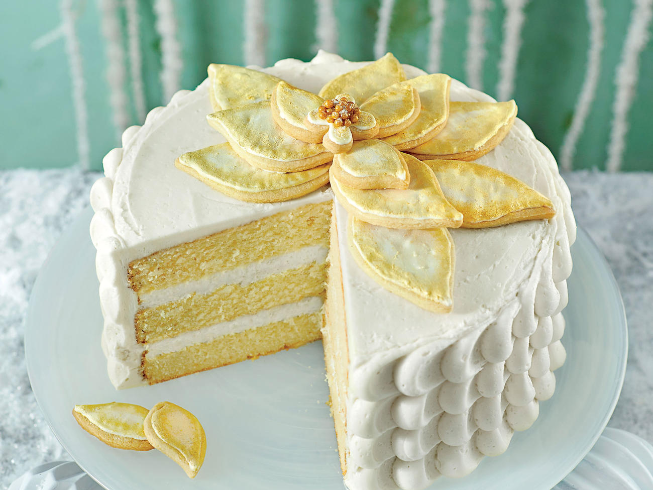 White Chocolate Poinsettia Cake image