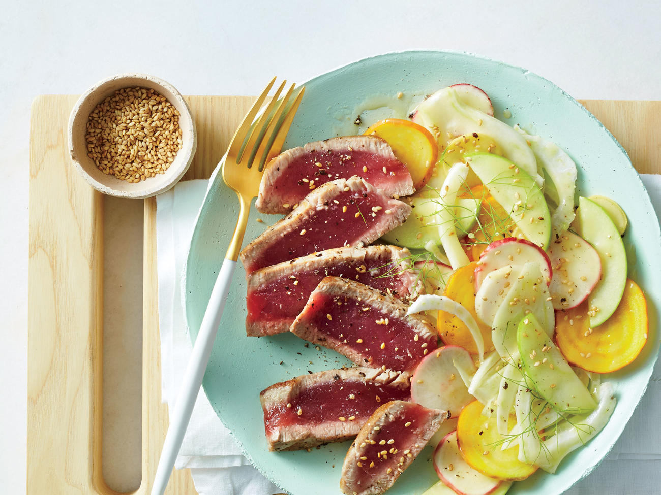 Quick easy recipes myrecipes seared tuna with shaved vegetable salad image forumfinder Image collections