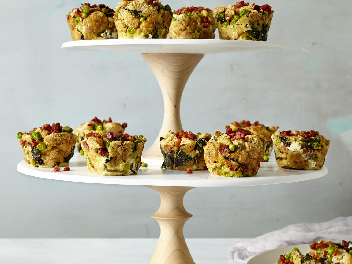 Spring Vegetable Bread Pudding Muffins image