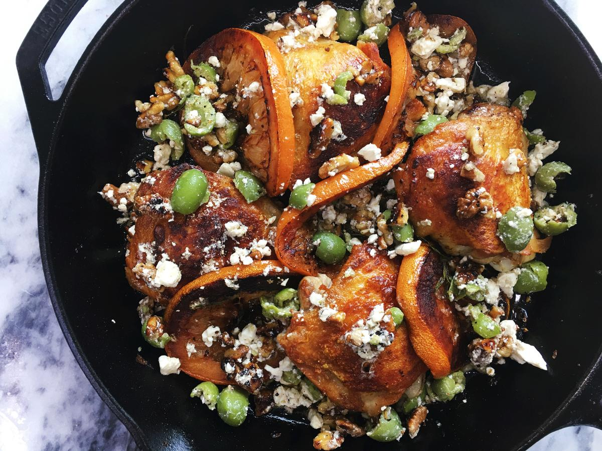Crispy-Chicken-Thighs-with-Grapefruit-Olives-and-Feta