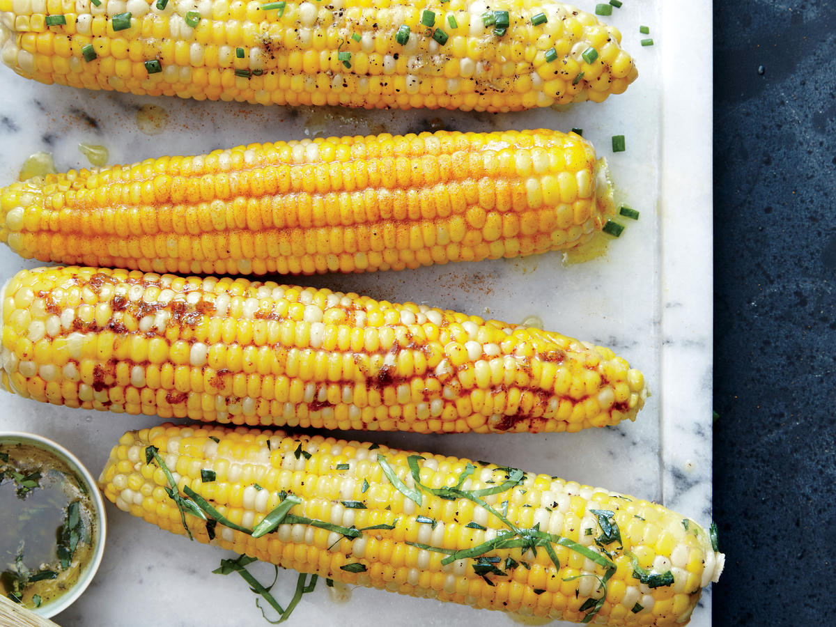 Corn on the Cob with Orange Tarragon and Basil Butter