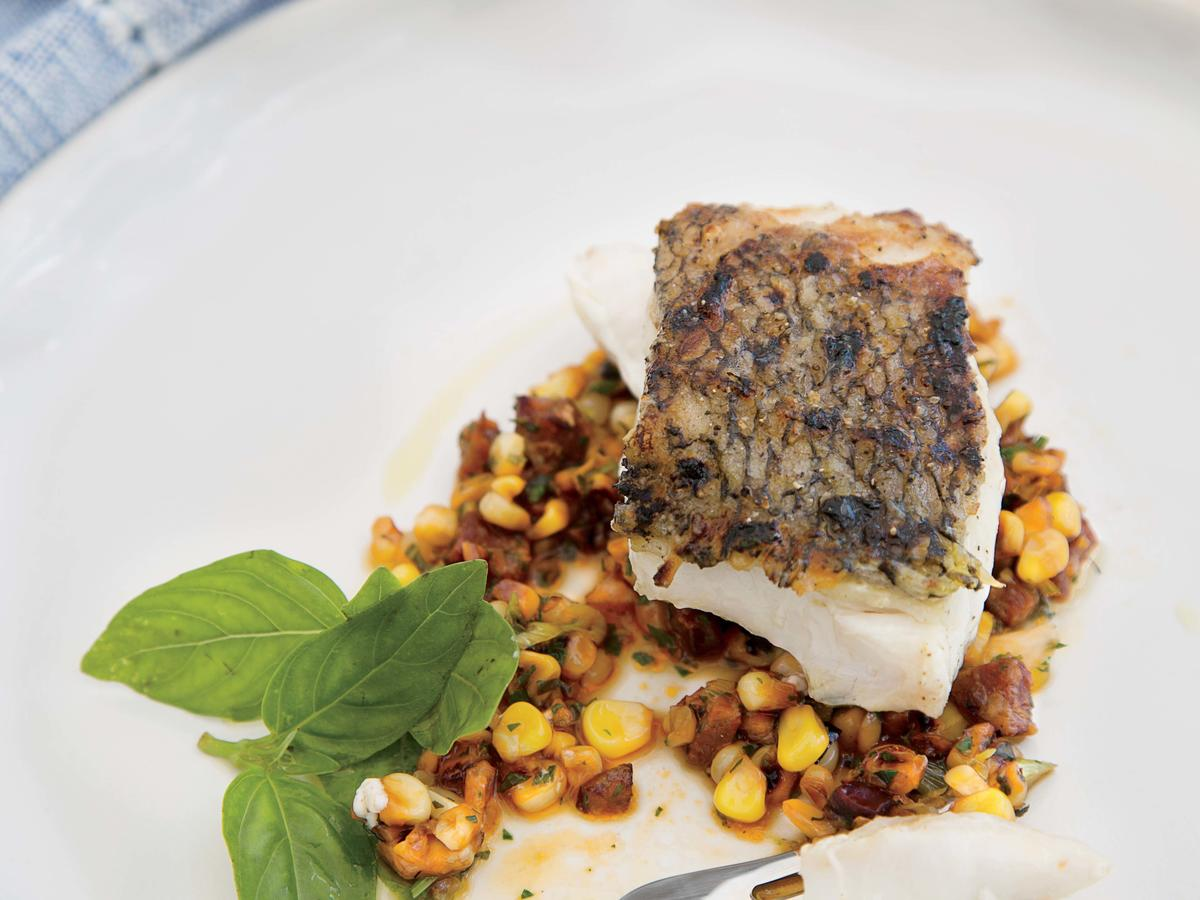 Grilled Striped Bass with Corn-and-Chorizo Salad and Herb Vinaigrette image