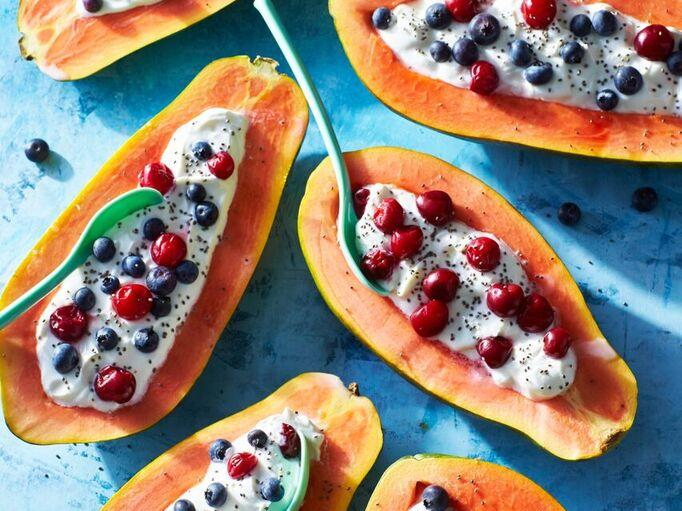 Papaya-Blueberry-Cherry Breakfast Bowls image